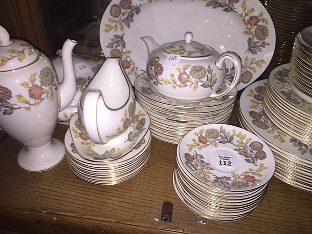 Wedgwood china set, Lichfield, service for 12, incl; 12 dinner plates, 12 salads, 12 bread & butter plates, 12 soups, 12 saucers, 12 teacups, 12 cream soups, 12 cream soup saucers, platter, covered casserole, 2 open veg bowls, 2 gravy boats, teapot,
