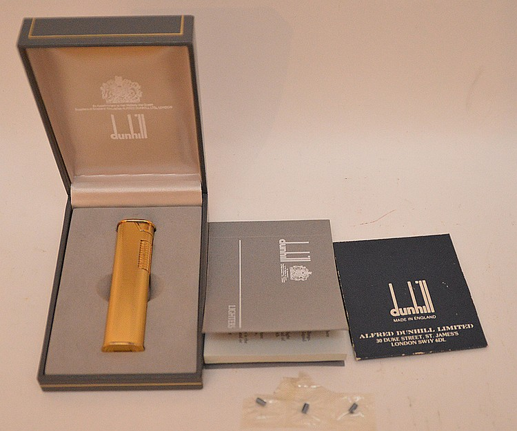 Dunhill Gold Filled Lighter. In original Box Lth 2 7/8