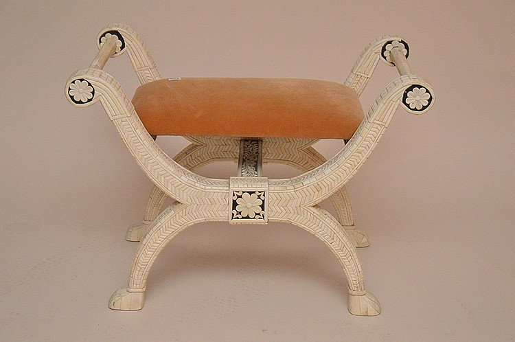 Inlaid bone small bench, 21