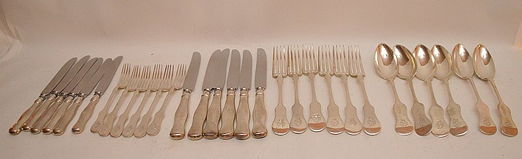30 Pieces Hungarian Silver Flatware. 6 Dinner Forks Lth 8 3/4