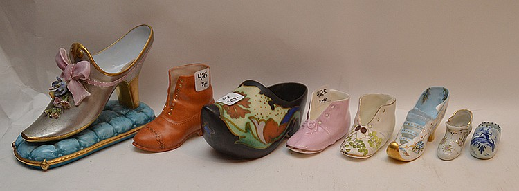 8 Assorted Porcelain Shoes. Largest Ht. 5