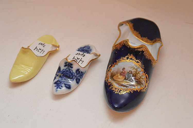 3 Meissen Porcelain Shoes.  Largest Lth. 6 1/2