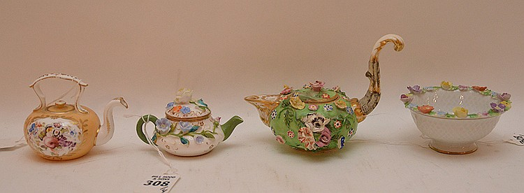 3 Antique German Porcelain Miniature Teapots. 1 Meissen Lath 4