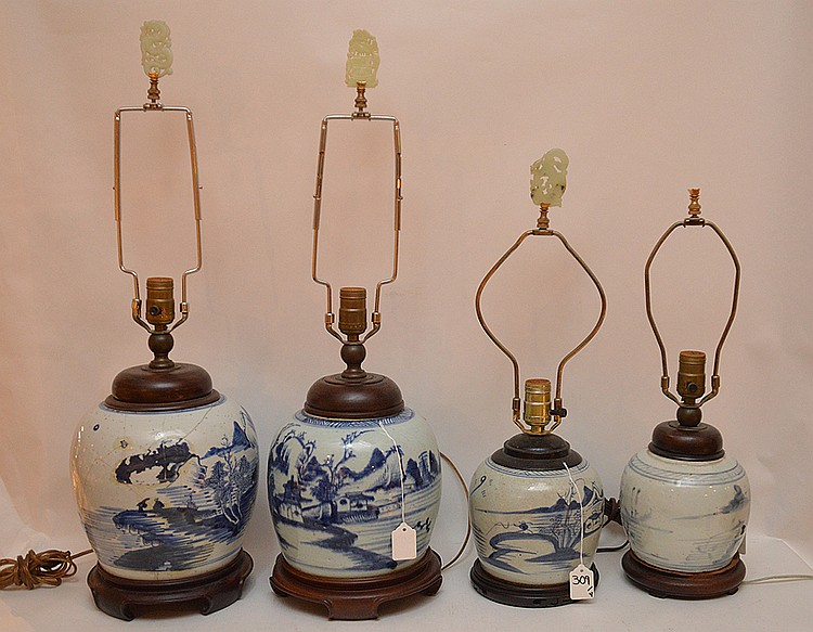 4 Chinese Porcelain Blue & White Ginger Jar Lamps. Larger Pair Jar Ht. 11 1/2