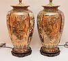 Pair Japanese Satsuma Decorated Lamps. Ht. 16
