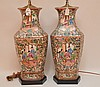 Pair Chinese Porcelain Lamps With Rose Medallion Decoration.  Ht. 19 1/2