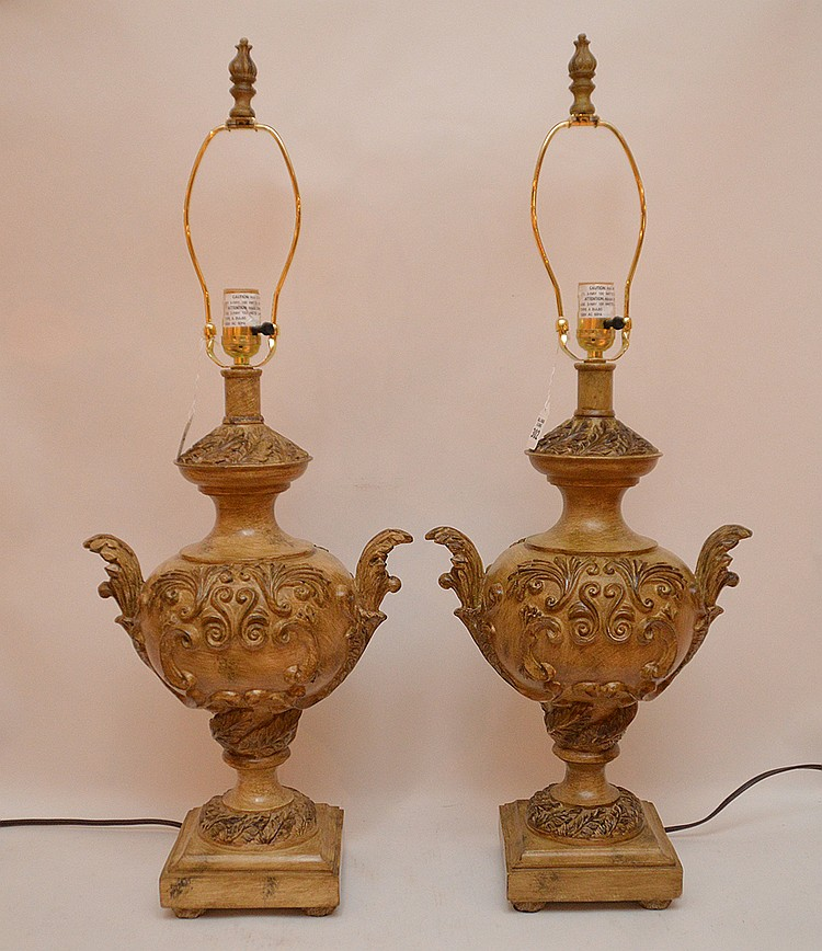 Pair Italian Urn Form Lamps. Ht. 20