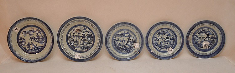5 Assorted 19th Century Canton Porcelain Plates. Largest Dia. 8 3/4