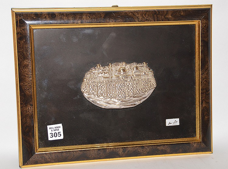 Ben Zion Sterling Silver Sculpture in relief mounted in a frame. Sculpture 5 1/2