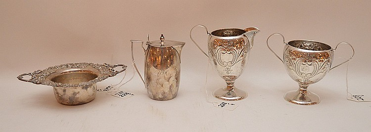 4 Pieces Assorted Sterling. Sugar & Creamer Ht. 4 7/8