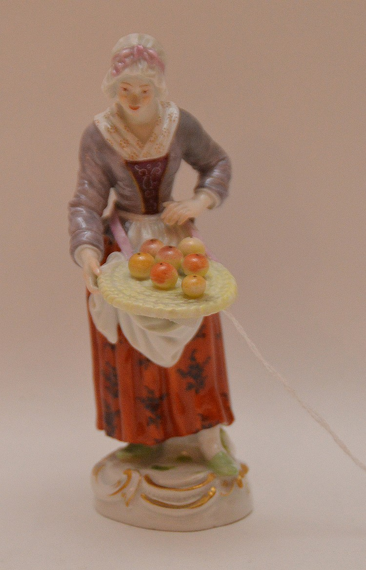 Meissen Porcelain Figure woman with fruit basket, Ht. 5 1/2