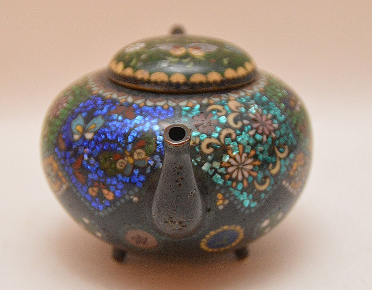 Antique Cloisonné Tea Pot. Ht. 3 1/2