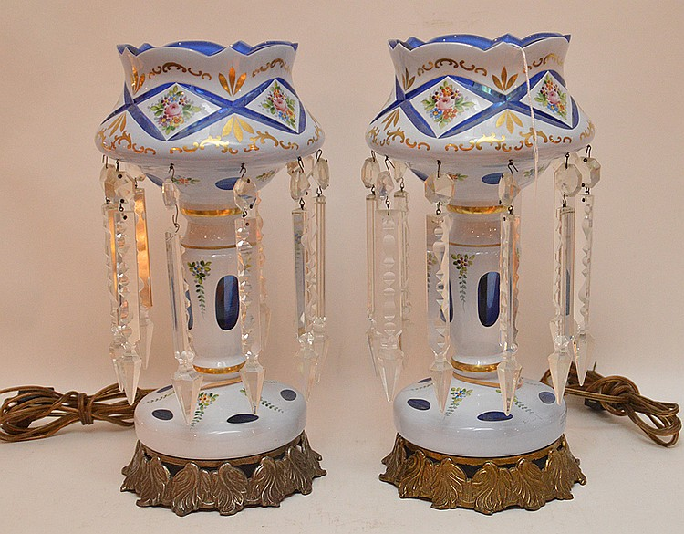 Pair Bohemian Glass Luster's.  Electrified and mounted as lamps.  Ht. 14