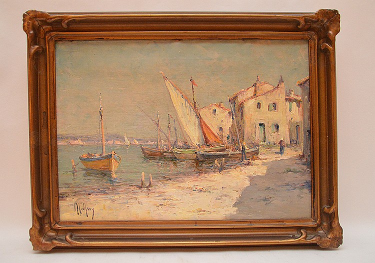 Charles Malfroy (FRENCH, 1862-1951) Harbor Scene, oil on canvas, 13in. x 18in.