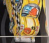 Red Grooms (AMERICAN, 1937) Ruckus Taxi,  3-D lithograph constructed sculpture, 1982, Size Height 20 in.; Width 14 in. / Height 50.8 cm.; Width 35.6 cm. Signed in red crayon numbered 57/75, in Plexiglas case