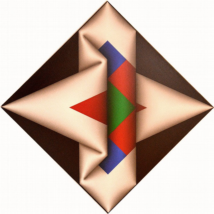Omar Rayo (COLOMBIAN, 1928-2010) Acrylic / Canvas NARABRUZ VI, 1981, 26 inches x 26 inches