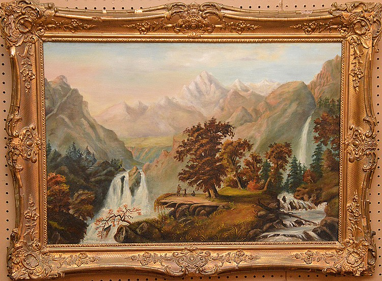Attributed to: Charles Russ (American 1825 - 1920) oil on canvas, Western Landscape w/ Indians on rock ledge, 22 inches x 33 inches