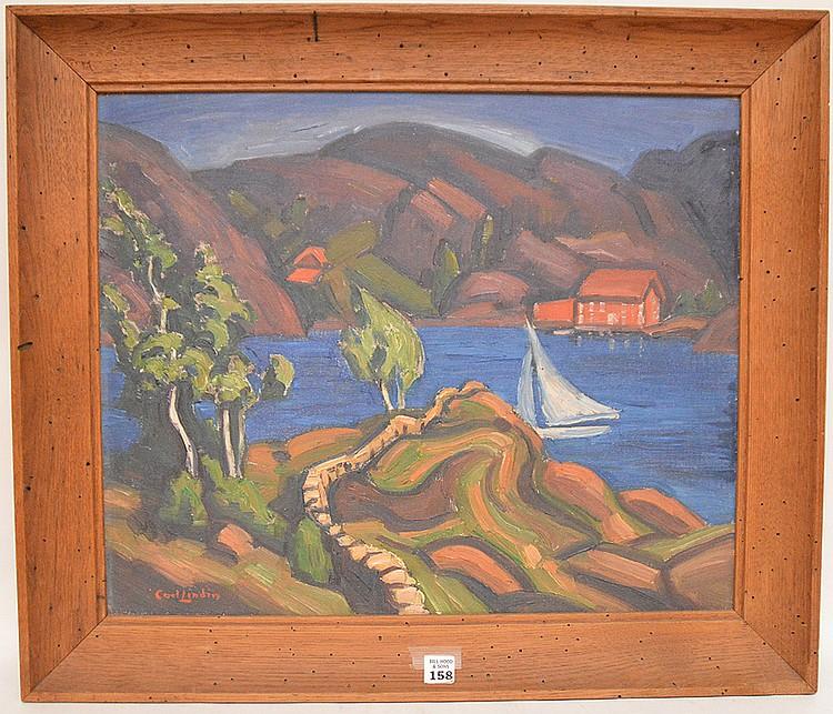 Carl Olof Eric Lindin (AMERICAN, 1869-1942) oil on canvas, Modernist mountain lake scene. Height 18 in.; Width 22 in. / Height 45.7 cm.; Width 55.9 cm.