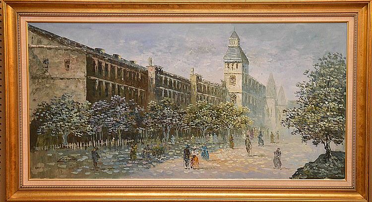 Decorative oil on canvas painting, Park/Town Scene, 25in. X 49in.