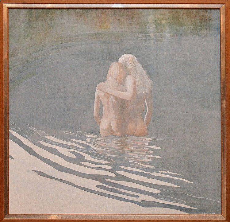 Robert Jenkins (20th century) swim in the lake, oil on canvas, 30-1/2in. x 30-1/2in.