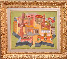 Phillip Castle (British 20th Century) oil on canvas, Untitled, 24in. x 29in. In a gilt gallery frame