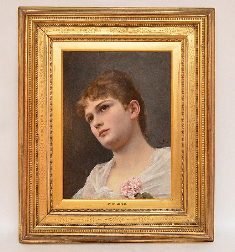 Alfred Seifert (CZECH, 1850-1901) oil on wood panel, Portrait of a lady, panel size 16in. x 12in.