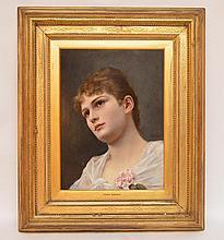 Alfred Seifert (CZECH, 1850-1901) oil on wood panel, Portrait of a lady, panel size 16in. x 12in.