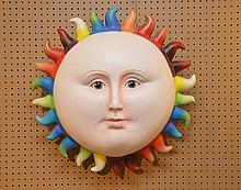 SERGIO BUSTAMANTE Sun Sculpture.  Condition: the piece has a small loss on the back rim.  Dia. 26