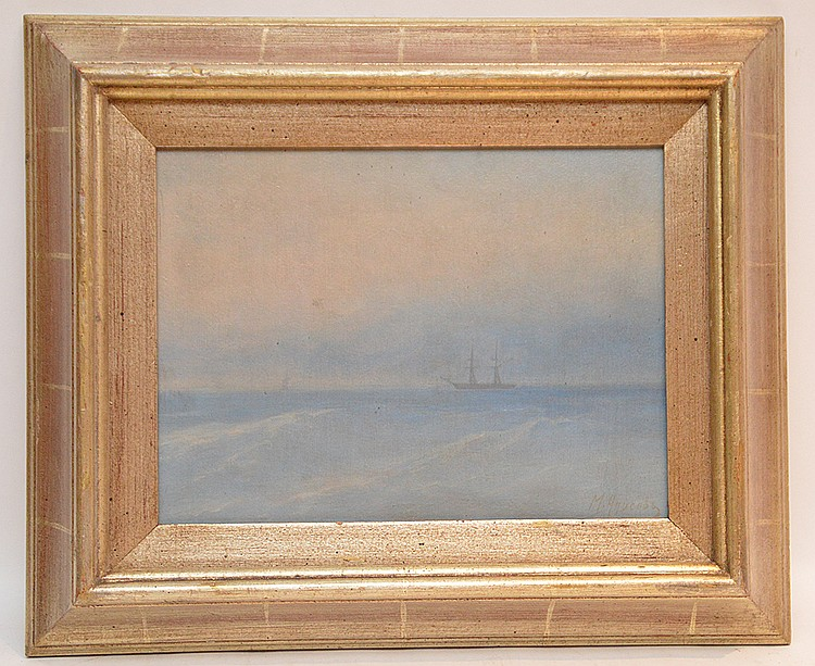 Russian seascape painting attributed to M. Apisov, oil on board, ship at sea, 9in. x 12in.