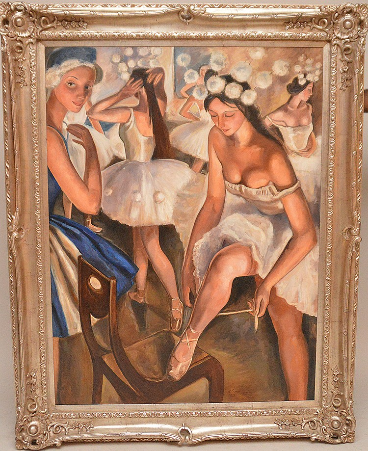 Russian Painting after/attributed to:  Zinaida Evgenievna Serebriakova (1884 - 1967) oil on canvas, Ballerinas, 36in. x 48in.