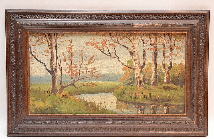 Russian oil on board painting, Landcape with River, 9in. X 16in.