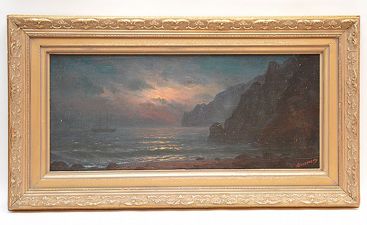 Attributed to: Ivan Konstantinovich Aivazovsky  (Russian 1817 - 1900) oil on board, moonlight seascape, 10in. X 22-1/2in.