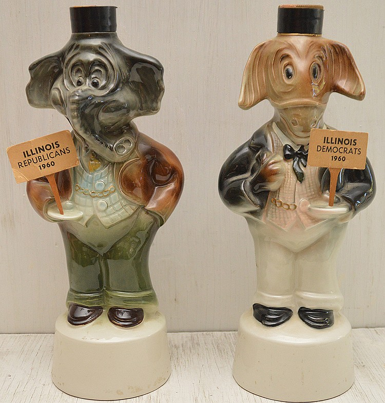 Jim Beam decanters republican & Democrat