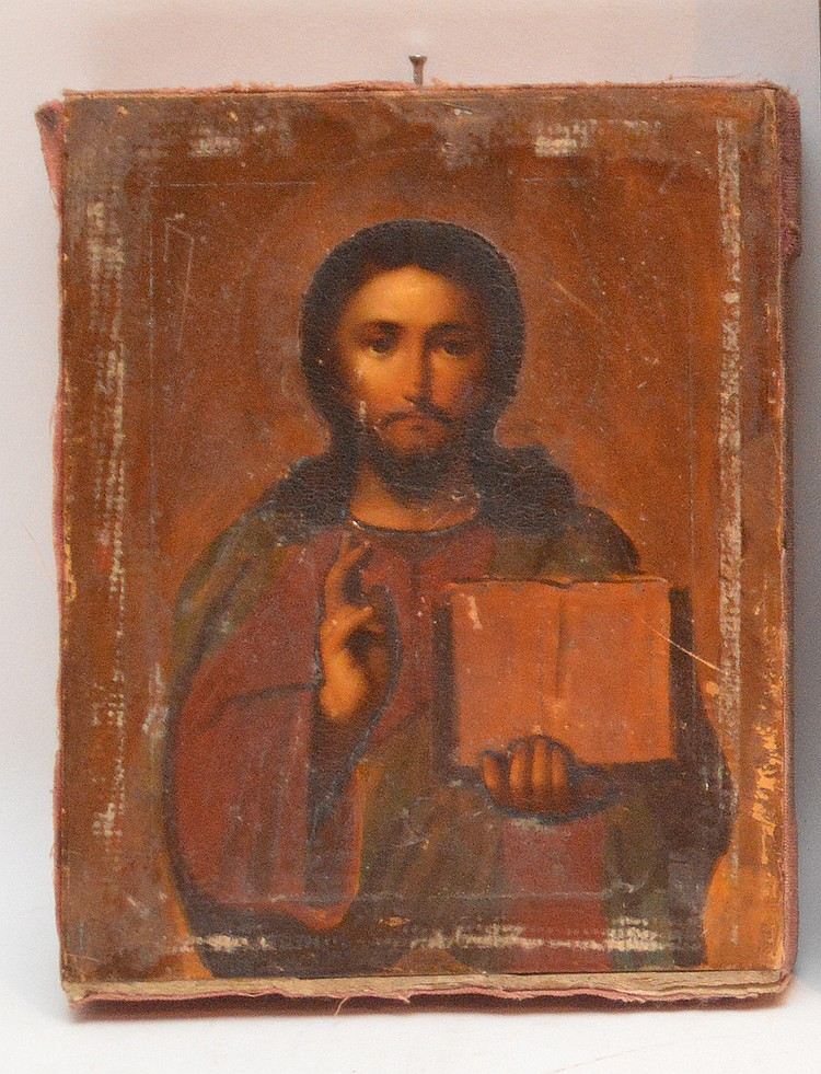 Antique Russian Icon of Jesus Christ, 7 inches x 5.5 inches