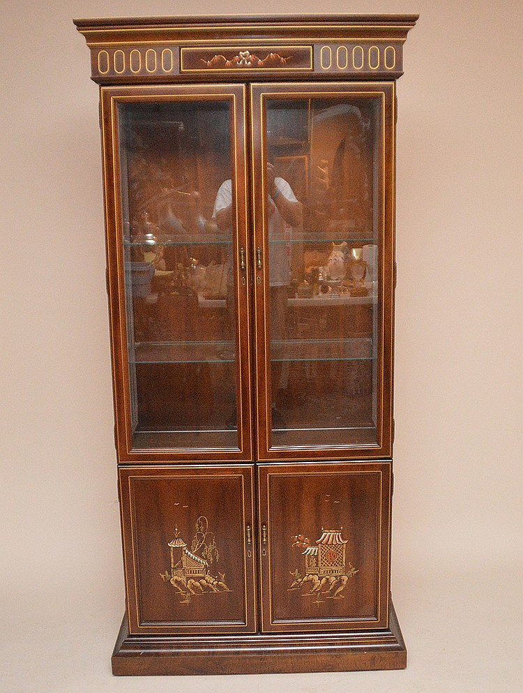 2 door China Cabinet w/ Oriental motif, 78in. x 37in. x 17in. Deep