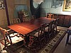 Mahogany double pedestal Baker dining table (3 leaves, 17 1/2
