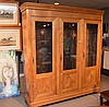 18th c. French fruitwood cabinet with 3 glass doors across front, 85in. Tall  x 74in. Wide. 16in. Deep