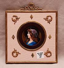 French enamel portrait, signed, 8 3/4