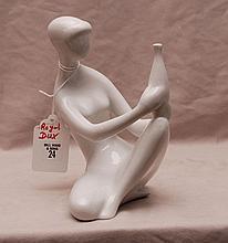 Royal Dux nude lady holding vase, 8 1/2