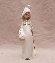Lladro girl with walking stick, 8 1/4