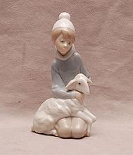 Lladro little girl kneeling with lamb, 6