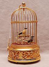 Swiss musical bird cage with singing birds (works)