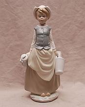 Lladro girl carrying 2 jugs, 11 1/4