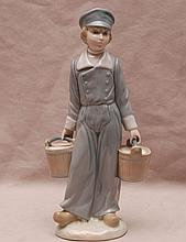Lladro girl carrying 2 pails of water, 8 3/4