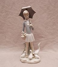 Lladro girl holding parasol, scarf around her neck