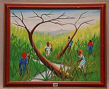 M.Mompremier Haitian 20th Century, oil on board,