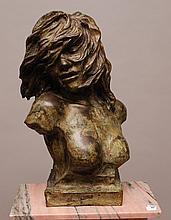 Bronze Bust sculpture with verdigris patina,