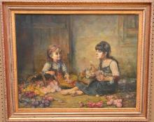 Russian Painting attributed to Alexej Harlamoff, oil on canvas, Harlamoff, Two girls arranging flowers, 24 x 30 inches