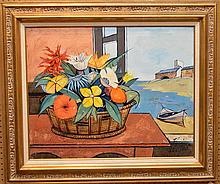 Charles Levier (French/American, 1920-2004) oil on canvas, flowers in a basket on a table by an open window by the shoreline, canvas 24