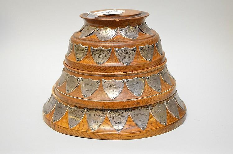 Vintage graduated English oak Trophy, engraved Durham City P